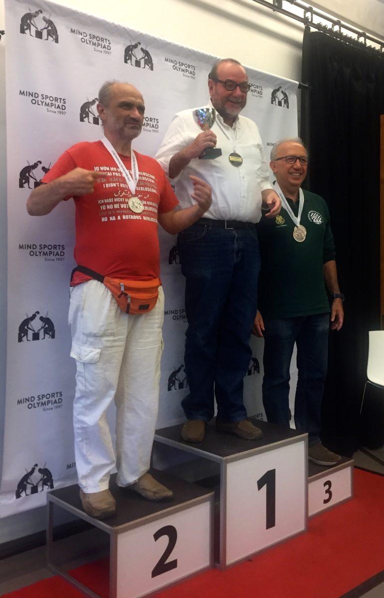 """2017: il podio, tutto italiano, della categoria Senior del Pentamind (i """"vecchietti"""", per capirsi!): Dario De Toffoli (Oro), Piero Zama (Argento) e Riccardo Gueci (Bronzo)."""